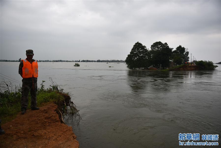 (抗洪救災)(4)湖北黃梅縣考田河堤出現潰口 數千人緊急轉移