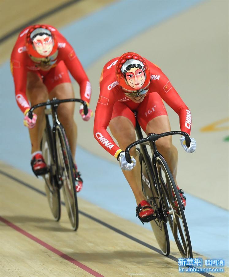 (裏約奧運會)(1)場地自行車——中國隊女子團體競速賽奪冠
