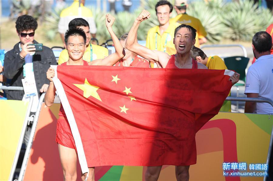 (裏約奧運會·奪冠一刻)(1)田徑——男子20公裏競走:中國選手包攬冠亞軍
