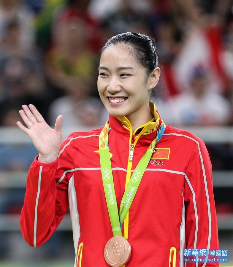 (裏約奧運會·領獎臺)(1)蹦床——中國選手李丹獲得女子銅牌