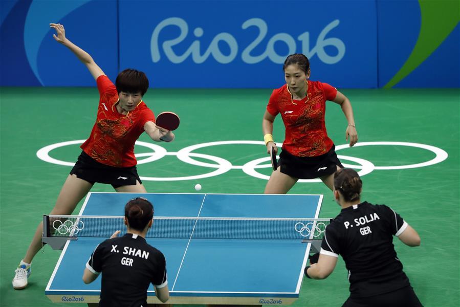 (裏約奧運會)(11)乒乓球——中國女隊奪金