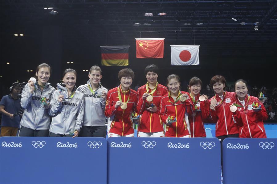 (裏約奧運會·領獎臺)(6)乒乓球——中國女隊奪金