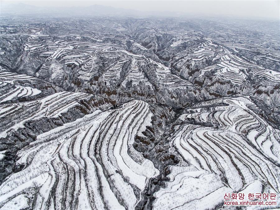 #(空中之眼)(1)黃土高原降春雪  黑白分明如畫卷