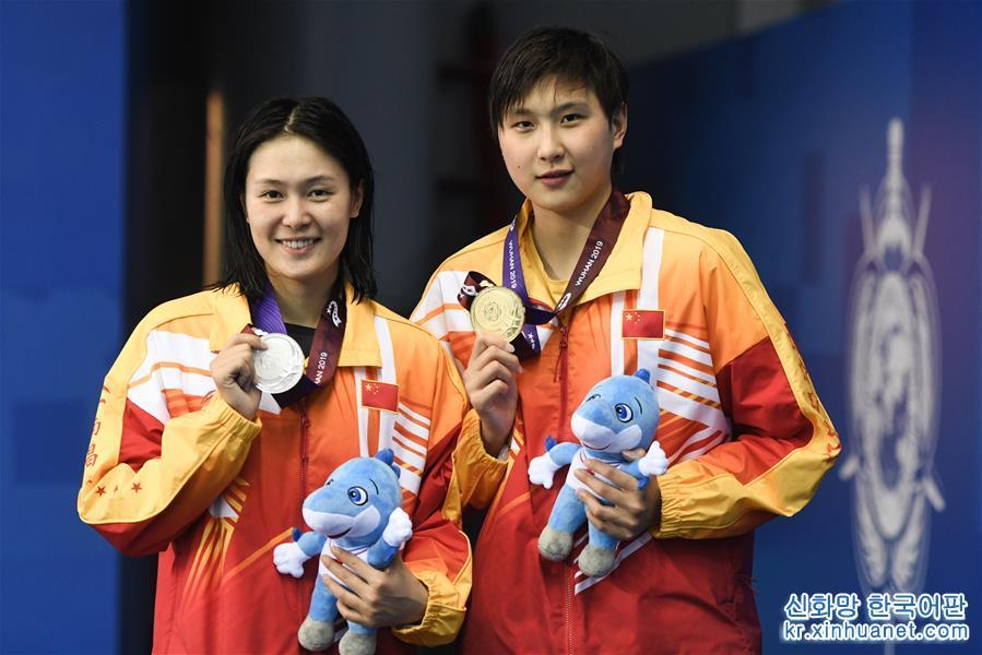 (軍運會)(1)遊泳——女子800米自由泳:中國隊包攬冠亞軍