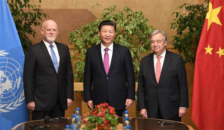 시진핑 주석, 피터 톰슨 제71차 유엔총회 의장 및 구테흐스 유엔 사무총장 회견