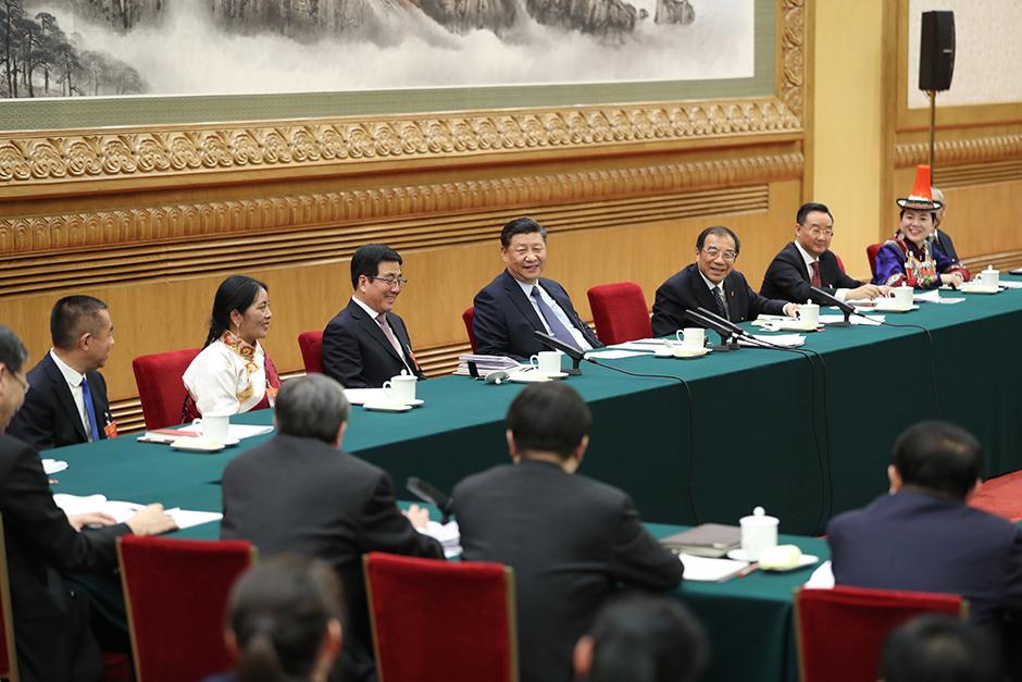 시진핑, 간쑤 대표단 심의에 참가