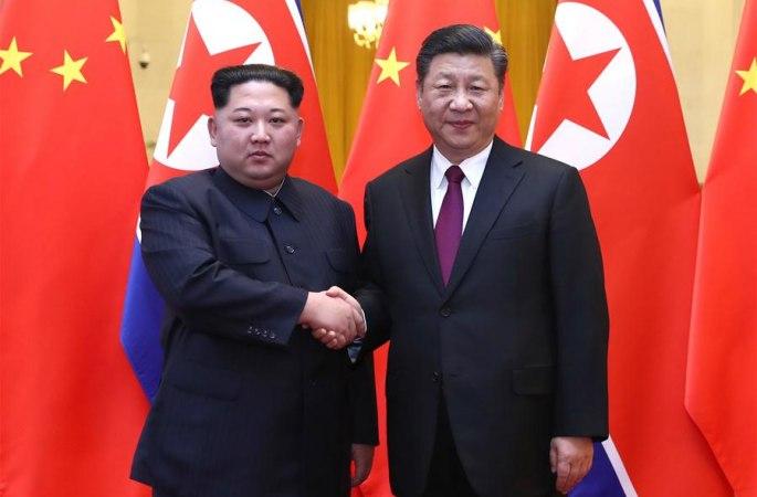 [포토]시진핑, 김정은과 회담
