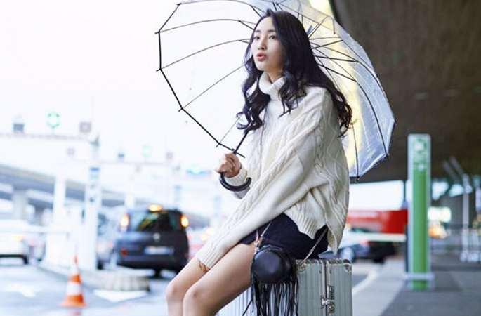 샤톈(夏天) Cici 공항패션, 긴다리 자랑