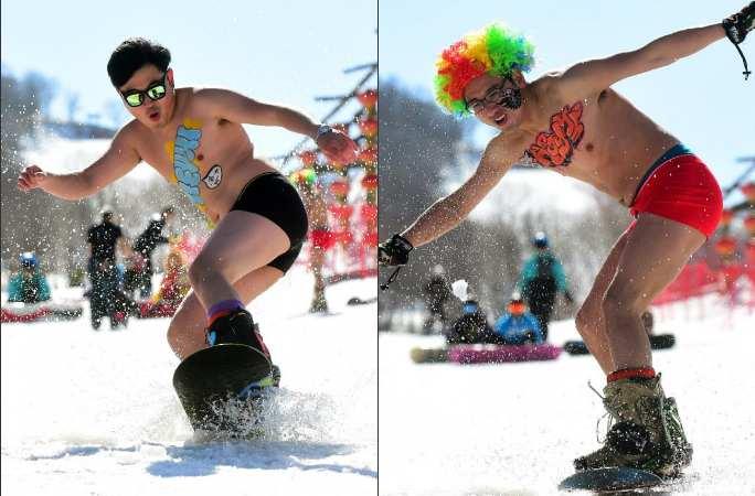 中 지린 스키장서 알몸으로 스키