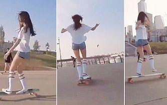 한국 최강 미모 롱다리 '스케이트보드 여신' 테크닉 뽐내