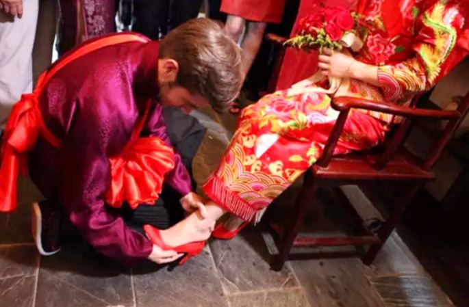 미국 남자와 중국 여자, 전통 혼례로 국제 결혼