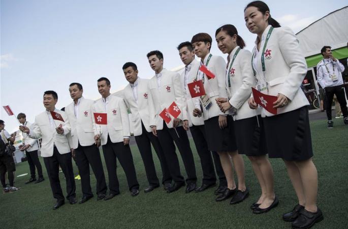 中 홍콩대표단, 올림픽선수촌서 국기 게양식