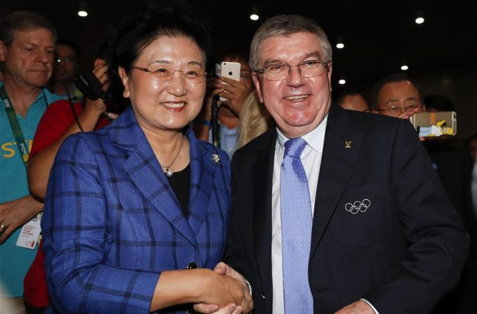 류옌둥, 리우 올림픽 사격 경기 관람 및 토마스 바흐 IOC 위원장 회견