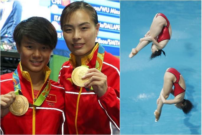 (리우 올림픽)中 우민샤 스팅마오, 다이빙 여자 3m 스프링보드 우승
