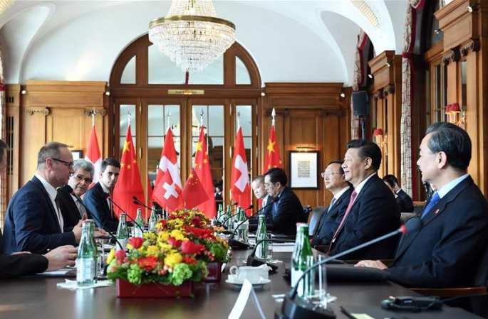 시진핑 주석, 스탈 스위스 연방 국민원 의장 및 비숍버거 연방원 의장 회견