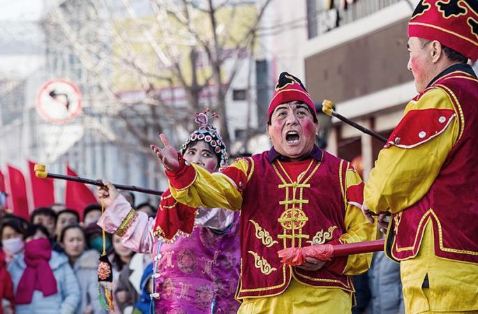 중국 산시 전통혼례 공연 '잉친(迎親)', 이색적인 신부맞이