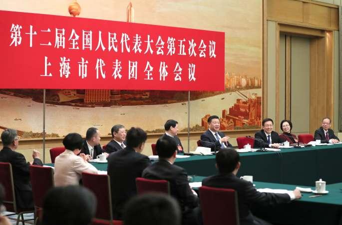 시진핑 주석, 상하이 대표단 심의에 참가