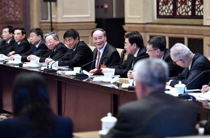 왕치산, 베이징 대표단 심의에 참가