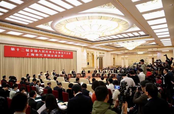 상하이 대표단 전체회의 매체에 개방