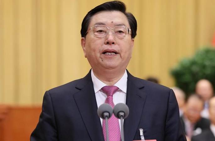 장더장, 12기 전인대 5차회의 폐막회 주재 및 연설 발표