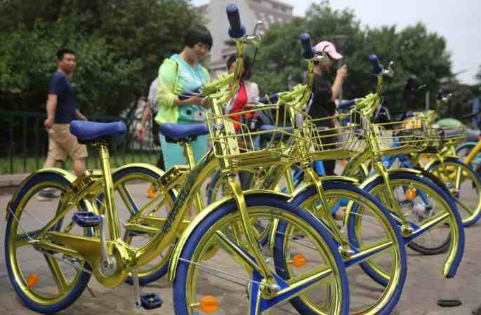 베이징 거리에 나타난 '투하오진'공유자전거, 핸드폰 충전 가능