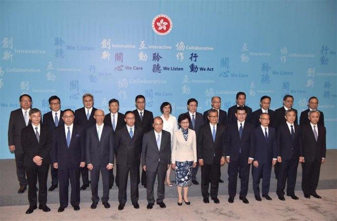홍콩특별행정구 제5기 정부 주요 관원 처음으로 전원 같이 모습 드러내