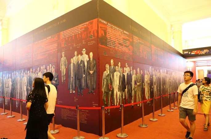 '도쿄재판' 대형 유화 상하이 도서 전시회서 전시