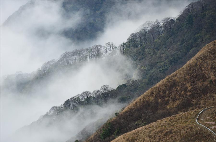 구이저우 먀오링 국가지질공원의 아름다운 겨울 풍경