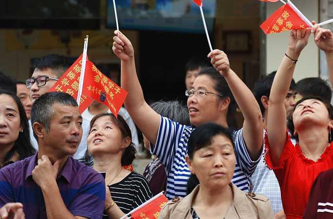 안후이 루안: 마오탄창중고등학교 수험생 수만 명 고사장 배웅