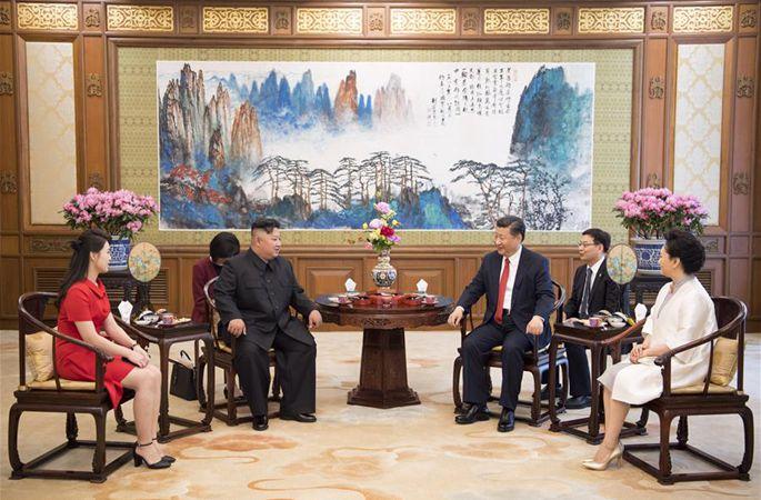 시진핑 주석, 김정은 조선로동당 위원장 회견
