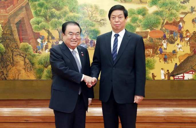 리잔수 위원장, 문희상 한국 국회의장과 회담
