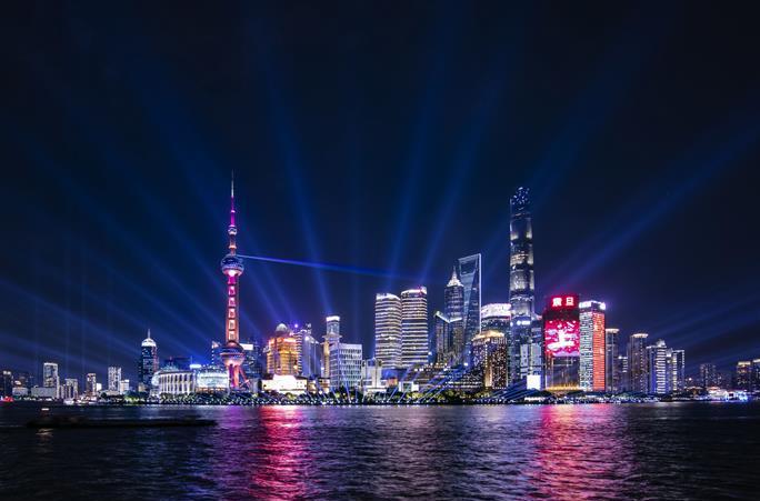 상하이: 황푸강변 조명쇼