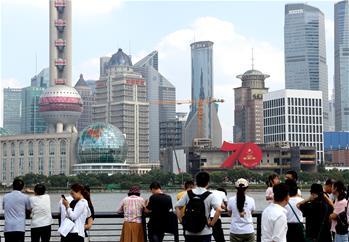 상하이: 국경절 분위기 고조