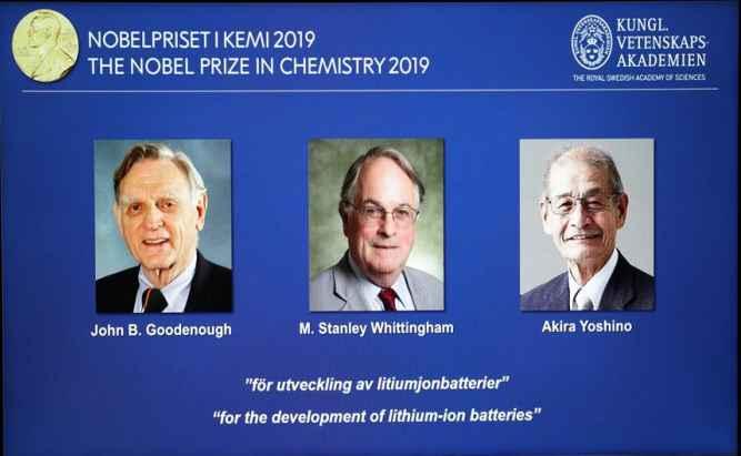 2019년 노벨 화학상에 과학가 3명 공동 수상