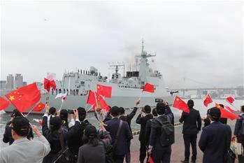中해군 타이위안함, 日 방문 마치고 귀국길에 올라