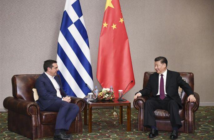 시진핑 中 국가주석, 치프라스 前 그리스 총리 회견