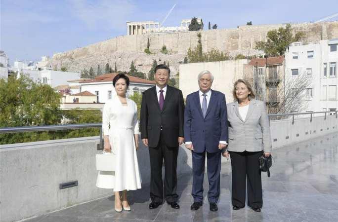 시진핑 中 국가주석, 파블로풀로스 그리스 대통령과 함께 아크로폴리스 박물관 참관