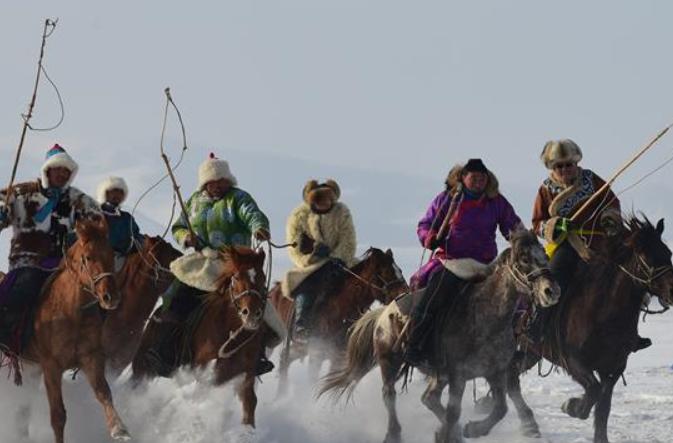 겨울 초원 눈밭에서 질주하는 말떼 장관