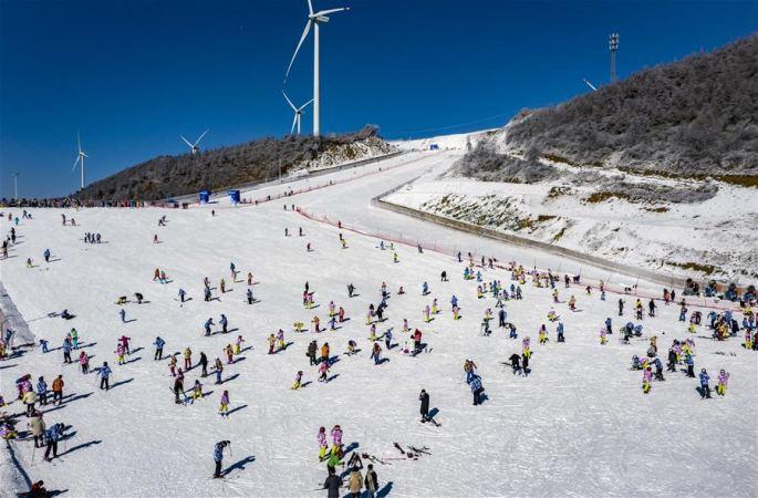 후베이 우펑: 고산 스키장의 절경