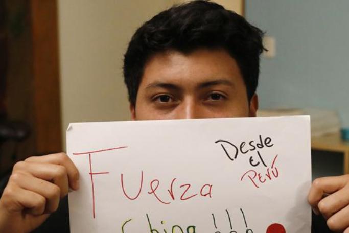 멀리서 온 축복—페루 소년, 중국 응원