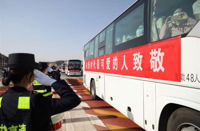 후베이 지원 간쑤 의료팀 제3차 복귀 인원, 란저우에 도착