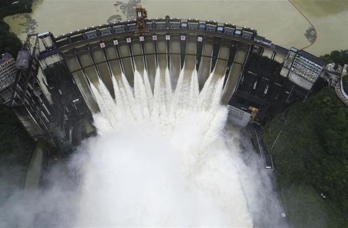 후난 펑탄 저수지 홍수 방류